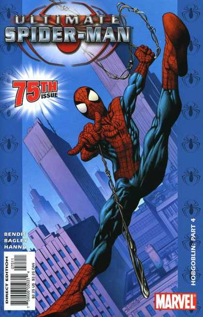 Ultimate Spider-Man 75 - Swinging - City - Web Rope - Skyscrapers - 75th Issue - Mark Bagley, Richard Isanove