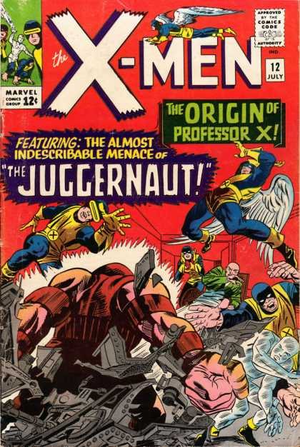 Uncanny X-Men 12 - Juggernaut - Cyclops - 12u00a2 - 12 July - Professor X - Jack Kirby
