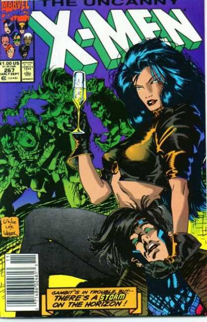 Uncanny X-Men 267 - Gambit - Storm - Champagne - Glass - Jim Lee, Whilce Portacio