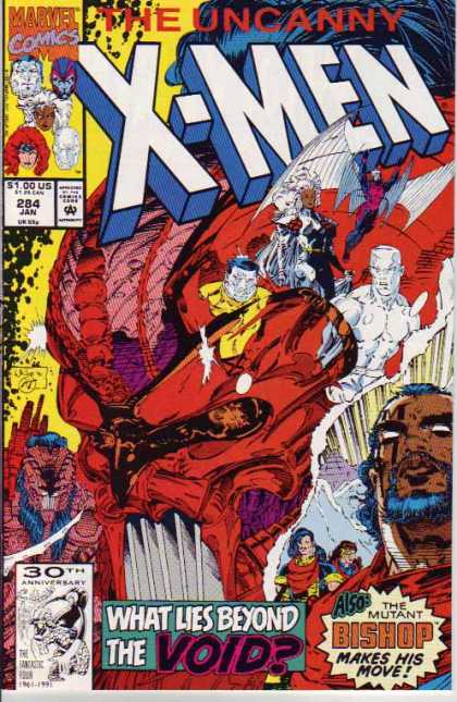 Uncanny X-Men 284 - Iceman - Bishop - Void - Wings - Line - Whilce Portacio