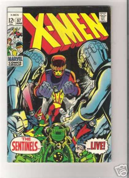 Uncanny X-Men 57 - Sentinels - Live - Cyclops - Robots - Approved By The Comics Code - Neal Adams