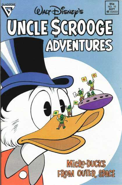 Uncle Scrooge Adventures 15 - Uncle Scrooge - Top Hat - Micro-ducks From Outer Space - Flying Saucer - Tiny Aliens Holding Flags