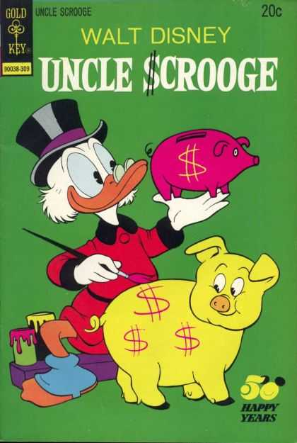 Uncle Scrooge 107 - Disney - Gold Key - Piggy Bank - Dollar Sign - 20 Cents
