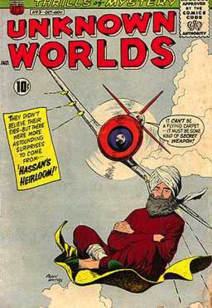Unknown Worlds 3 - Thrills Of Mystery - Approved By The Comics Code - Plane - Clauds - Carpet