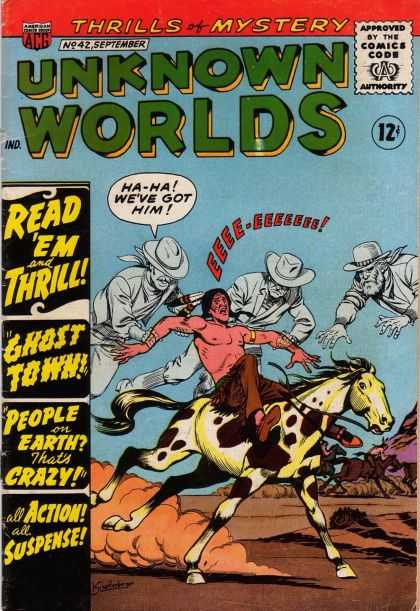 Unknown Worlds 42 - Unknown Worlds - Cowboys - Indian - Horse - Fight