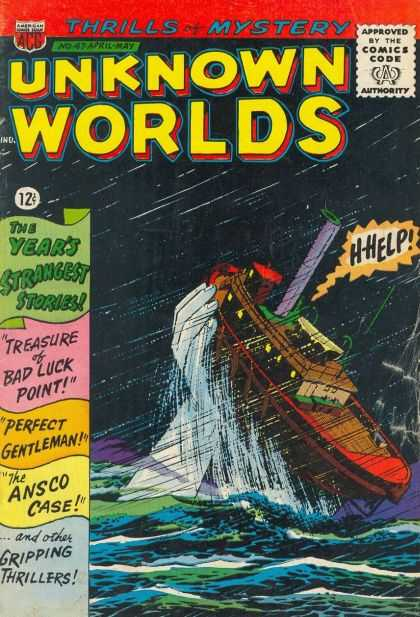 Unknown Worlds 47 - Approved By The Comics Code - Thrills Of Mystery - Water - Ship - Hand