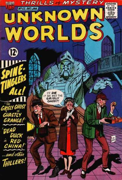 Unknown Worlds 52 - Thrills Of Mystery - Spine Tinglers - The Grisly Ghost - Ghastly Grange - Dead Duck Red China
