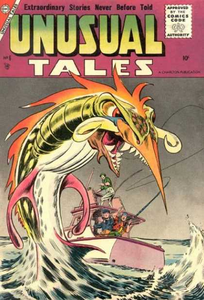 Unusual Tales 6 - Approved By The Comics Code - Monster - Boat - Man - Water