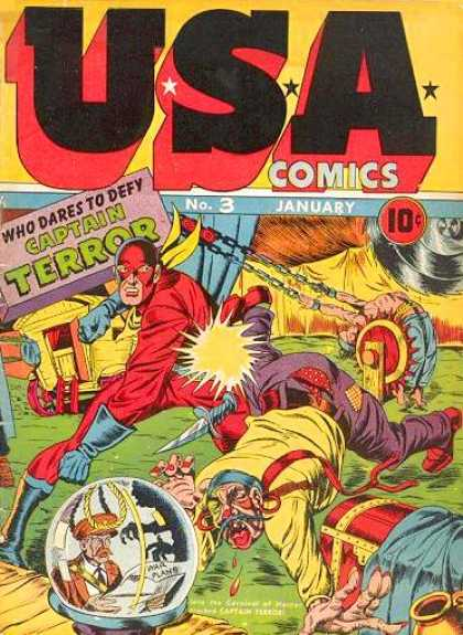 USA Comics 3 - No 3 - January - Who Dares To Defy Captain Terror - Red Suit - Blue Gloves