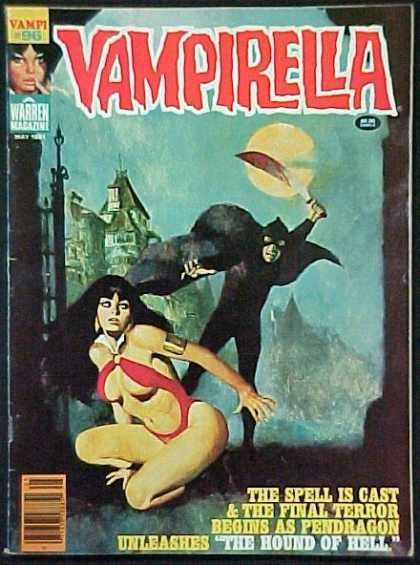 Vampirella 96 - Warren Magazine - Slutty Vampire - Bloody Sword - Dark Clothing - Old House