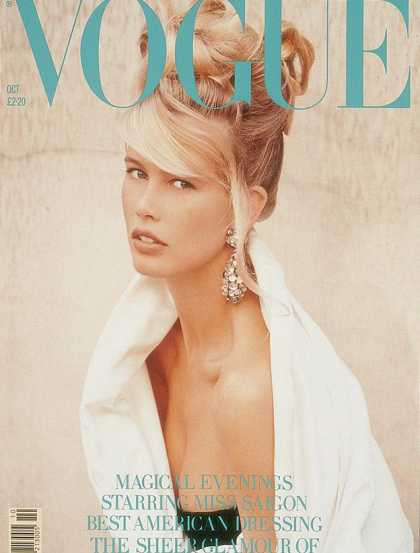 Vogue - Claudia Schiffer - October, 1989