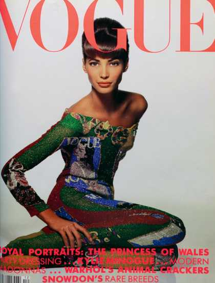 Vogue - Christy Turlington - December, 1990