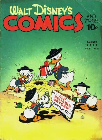 Walt Disney's Comics and Stories 11 - Donald Duck - Huey Duck - Dewey Duck - Louie Duck - Old Reliable Geyser