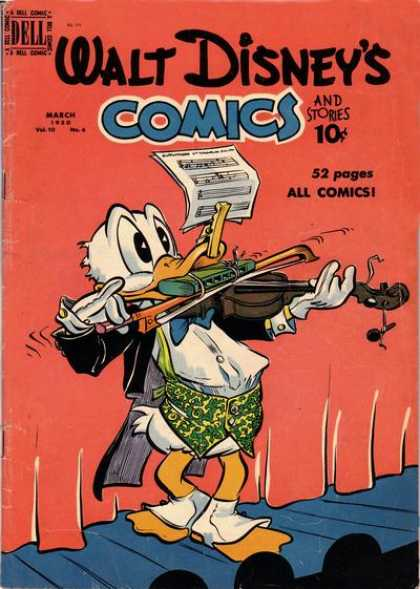 Walt Disney's Comics and Stories 114 - Violin - Sheet Music - Harmonica - Curtain - Stage