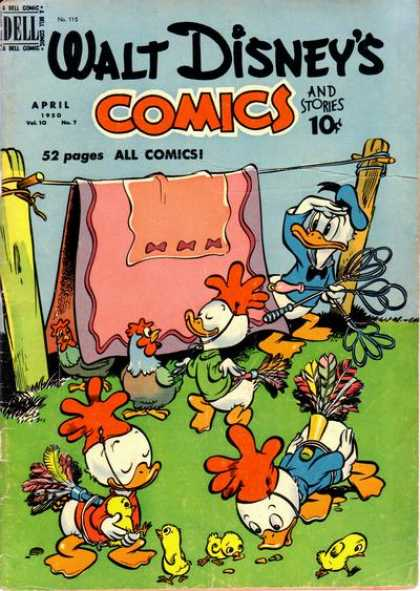Walt Disney's Comics and Stories 115 - Rug - Clothesline - Ducks - Rooster - Feathers