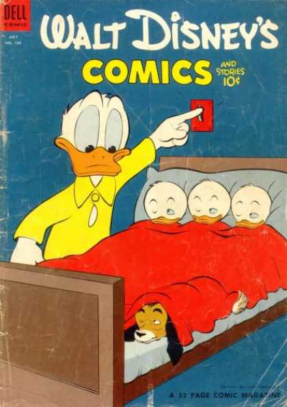 Walt Disney's Comics and Stories 166 - Donald Duck - Nephews - Dog - Bed - Light Switch
