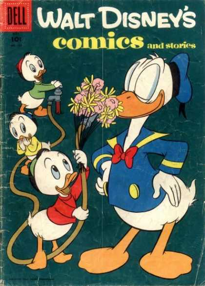 Walt Disney's Comics and Stories 188 - Water Hose - Tap - Flowers - Red Bow Tie - Yellow Button