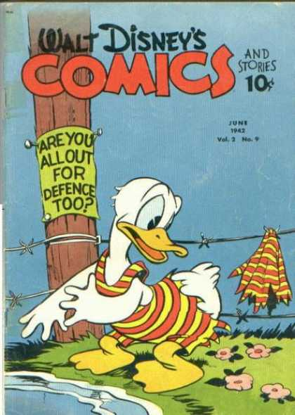 Walt Disney's Comics and Stories 21 - Duck - Barb Wire - Swim Suit - Pole - Sign