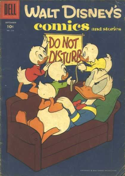 Walt Disney's Comics and Stories 216 - Donald Duck - Couch - Dell - Pillow - Do Not Disturb