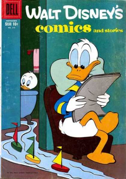 Walt Disney's Comics and Stories 218 - Donald Duck - Bath Time - Flood The Tub - Tub Toys - Sailing Ships
