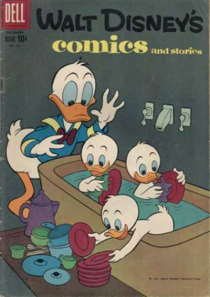 Walt Disney's Comics and Stories 231 - Donald Duck - Nephews - Bath Tub - Dishes - Babysitting