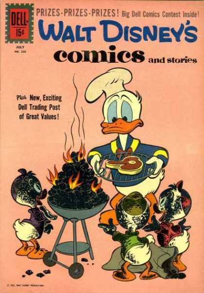 Walt Disney's Comics and Stories 250 - Donald Duck - Barbecue - Steak - Nephews - Fire