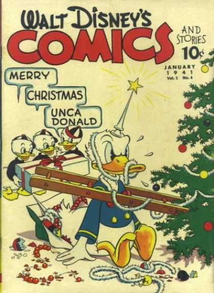 Walt Disney's Comics and Stories 4 - Christmas Tree - Donald Duck - Huey - Dewey - Louie