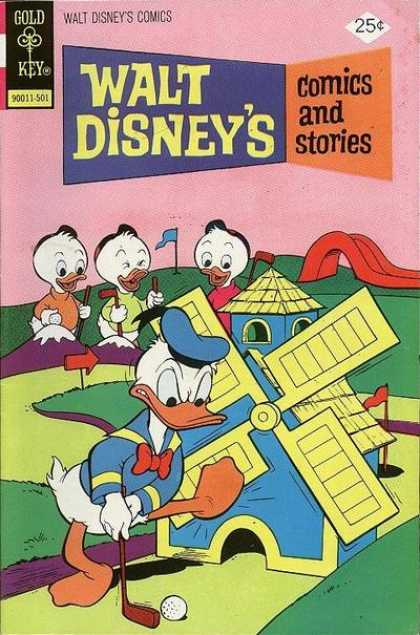 Walt Disney's Comics and Stories 412 - Gold Key - Golf - Windmill - Flag - Donald Duck