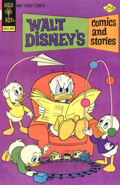 Walt Disney's Comics and Stories 427 - Newspaper - Paper Airplane - Juggling Balls - Toy Train - Donald Duck