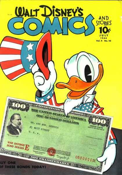Walt Disney's Comics and Stories 46 - War Bond - One Hundred Dollars - Series E - Donald Duck - Red White And Blue