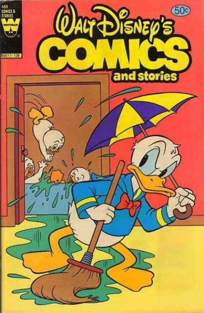 Walt Disney's Comics and Stories 489 - Donald Duck - Puddles - Mop - Umbrella - Nephews In Bathtub