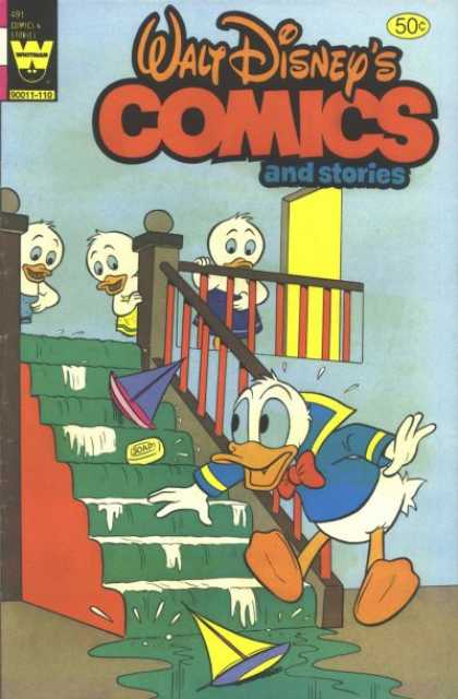 Walt Disney's Comics and Stories 491 - Huey - Staircase - Boats - Donald Duck - Wet
