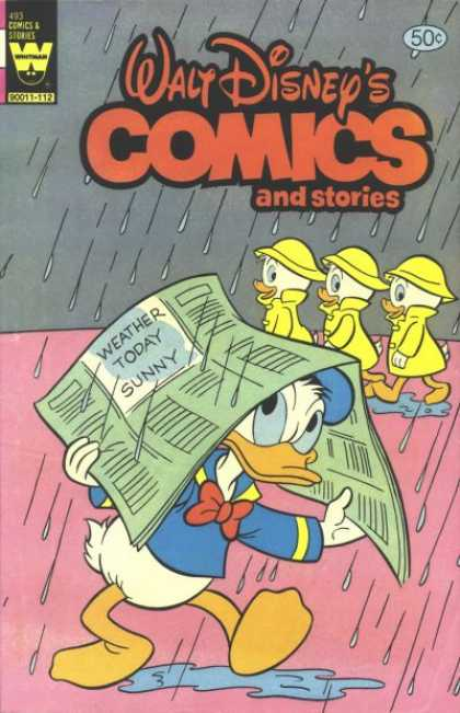 Walt Disney's Comics and Stories 493 - Ducks - Rain - Newspaper - Raincoats - Puddle