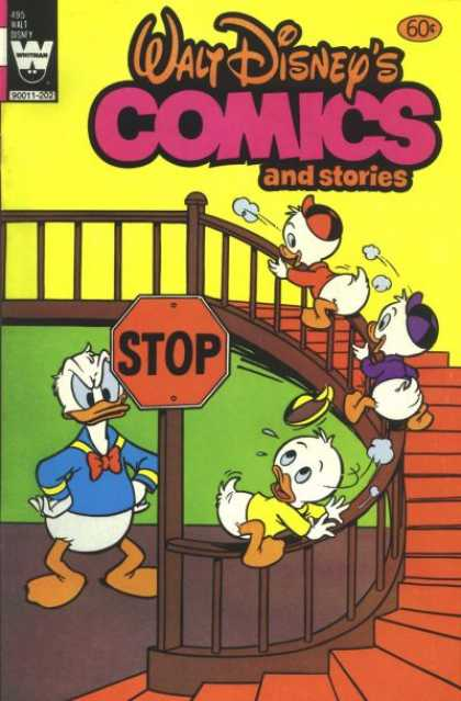 Walt Disney's Comics and Stories 495 - Ducks - Stairs - Stop Sign - Banister - Steps