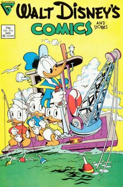 Walt Disney's Comics and Stories 512 - Gladstone - Ducks - Boat - Fishinf Rods - Clouds