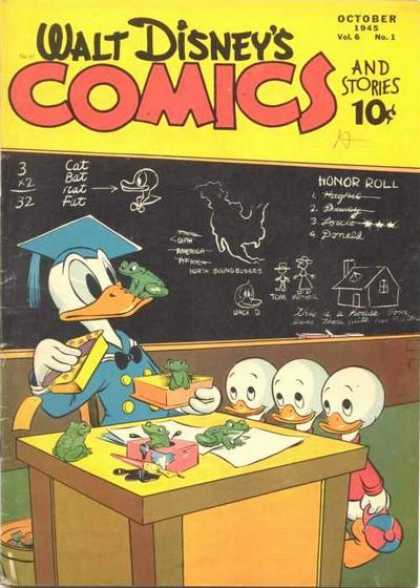 Walt Disney's Comics and Stories 61 - Croak On The Beak - Leap And Learn - Darling Ducklings - Teacher In Terror - Frogs In The Box