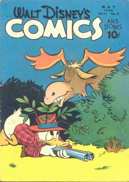 Walt Disney's Comics and Stories 68 - Moose - Eating Leaves - Donald Duck - Bush - Rifle