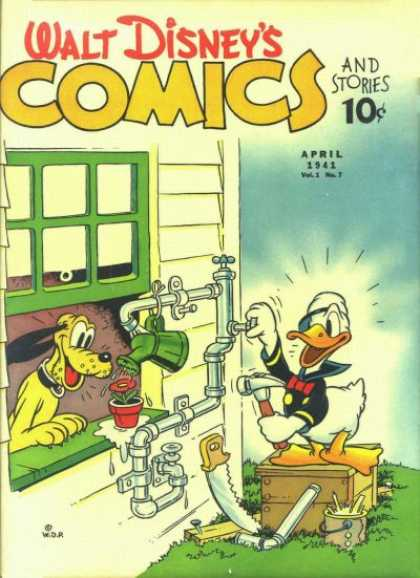Walt Disney's Comics and Stories 7 - Donald Duck - Pluto - Hammer - Watering Can - Flower
