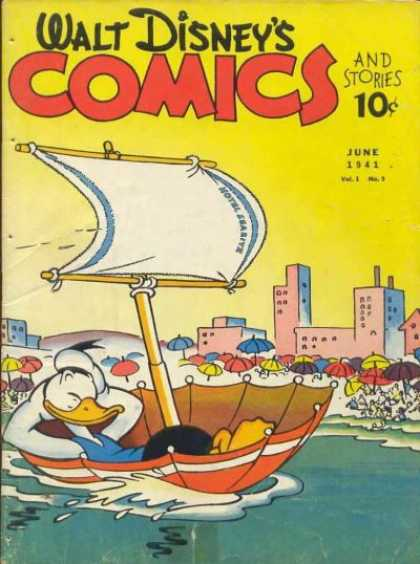 Walt Disney's Comics and Stories 9 - Donald Duck - Sailing In A Boat - Upside Down Umbrella - Along The Beach - Sail Blowing In The Wind