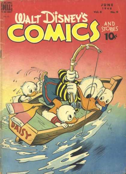 Walt Disney's Comics and Stories 93 - Fishing Pole - Ocean - Paddles - June 1942 - Fishing Hook