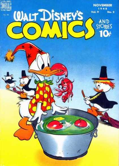 Walt Disney's Comics and Stories 98 - Halloween Costumes - Broomsticks - Apples - Bucket - Crab