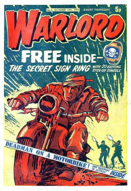 Warlord (Thomson) 4 - Motorbike - Motorbike Rider - Nazi-like Soldiers - Guns Shooting - Bracelet With Skull Image