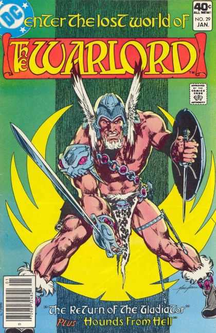 Warlord 29 - Enter The Lost World Of The Warlord - Shield - Helmet - Hounds From Hell - The Return Of The Gladiator - Mike Grell