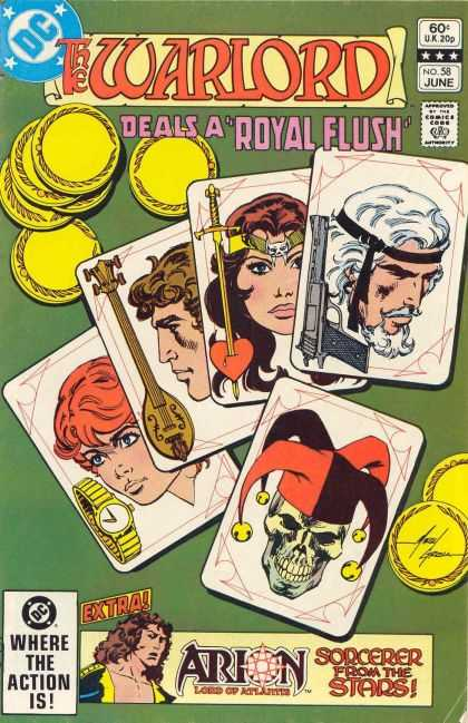 Warlord 58 - Where The Action Is - Sorcerer From The Stars - Deals A Royal Flush - Cards - No58 June - Mike Grell