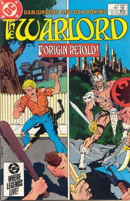 Warlord 91 - Dan Jergens - Dan Adkins - The Origin Retold - Castle In Background - Modern House In Background - Richard Buckler