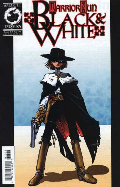 Warrior Nun: Black & White 13 - Antarctic Press - Black Hat With Cross - Gold Cross - Cape - Tall Boots