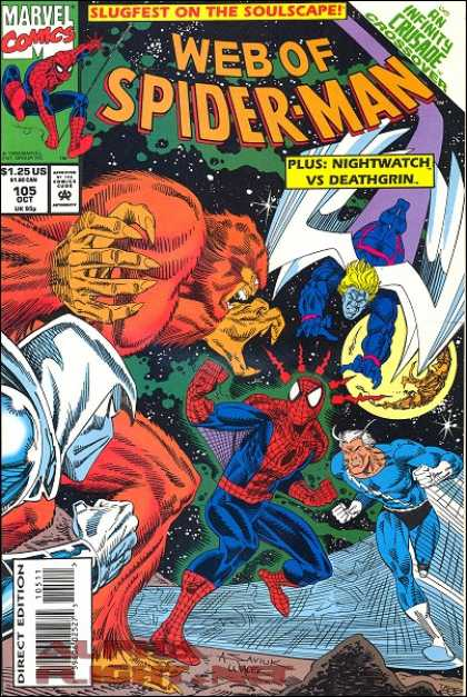 Web of Spider-Man 105 - Slugfest On The Soulscape - An Infinity Crusade Crossover - Nightwatch - Deathgrin - Quicksilver - Bob Wiacek