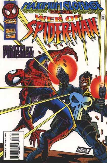 Web of Spider-Man 127 - Maximum Clonage Part 2 Of 6 - Web Of Spiderman - Death By Punisher - Punisher And Spiderman - Marvel Comics