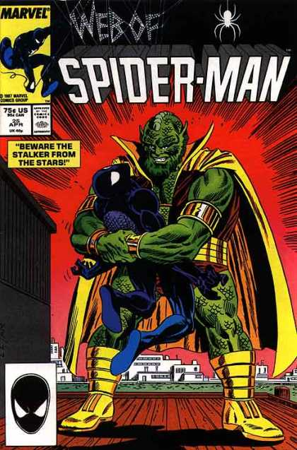 Web of Spider-Man 25 - Stalker From The Stars - Green Creature - Dock - Water - Arm Bands