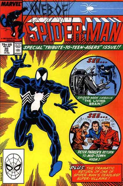 Web of Spider-Man 35 - Spider-man - Web Of Spider-man - Marvel Comics - The Living Brain - Tribute-to-teen-agers